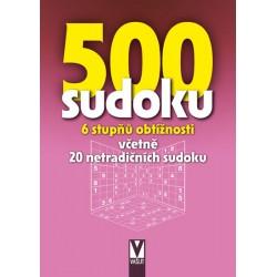 500 sudoku - 6 stupňů obtížností včetně 20 netradičních sudoku (růžová)
