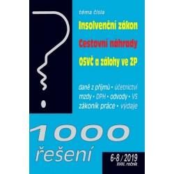 1000 řešení 6-8/2019 - Insolvenční zákon, Cestovní náhrady, OSVČ a snížení záloh ve zdravotním pojištění