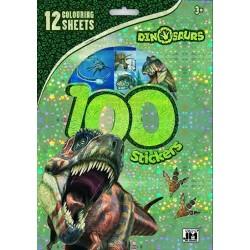 Dino - 100 samolepek s omal. listy