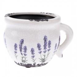 Keramický obal na květináč - Levandule 14 cm