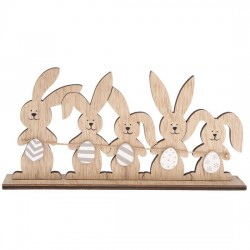 Dřevěná velikonoční dekorace - Zajíčci 22 x 10,5 cm