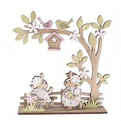 Dřevěná dekorace - Ovečky 21 x 22,5 cm