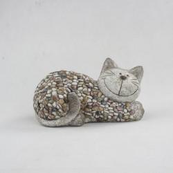 Zahradní okrasná kočka s kamínky (polyresin)