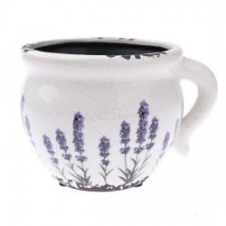 Keramický obal na květináč - Levandule 17 cm