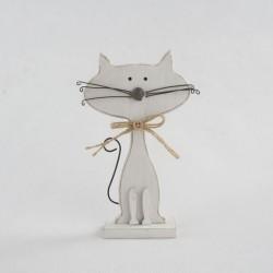 Dřevěná kočka - bílá 15 cm