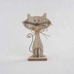 Dřevěná kočka - natur 15 cm