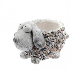 Zahradní okrasný květináč Pes s kamínky-(polyresin)