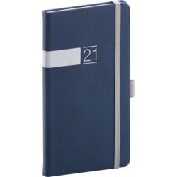 Diář 2021: Twill - modrostříbrný - kapesní, 9 × 15,5 cm