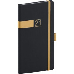 Diář 2021: Twill - černozlatý - kapesní, 9 × 15,5 cm