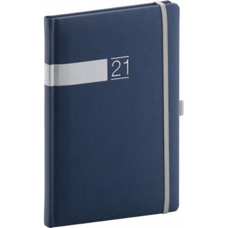 Diář 2021: Twill - modrostříbrný - týdenní, 15 × 21 cm