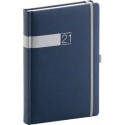 Diář 2021: Twill - modrostříbrný - denní, 15 × 21 cm
