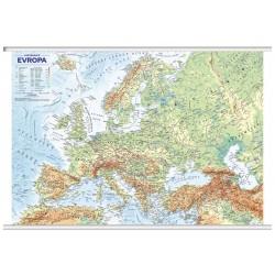 Evropa - obecně zeměpisná mapa, office, nástěnná, 1 : 4 500 000 (s lištami v tubusu)