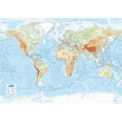 Svět - nástěnná obecně zeměpisná mapa 1 : 21 000 000