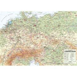 Střední Evropa - nástěnná obecně zeměpisná mapa 1 : 1 715 000