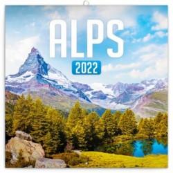Kalendář 2022 poznámkový: Alpy, 30 × 30 cm (západní kalendárium)