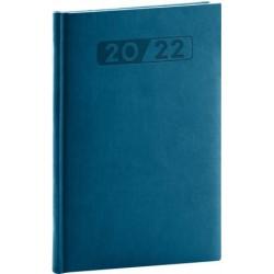 Diář 2022: Aprint - petrolejově modrý/týdenní, 15 x 21 cm